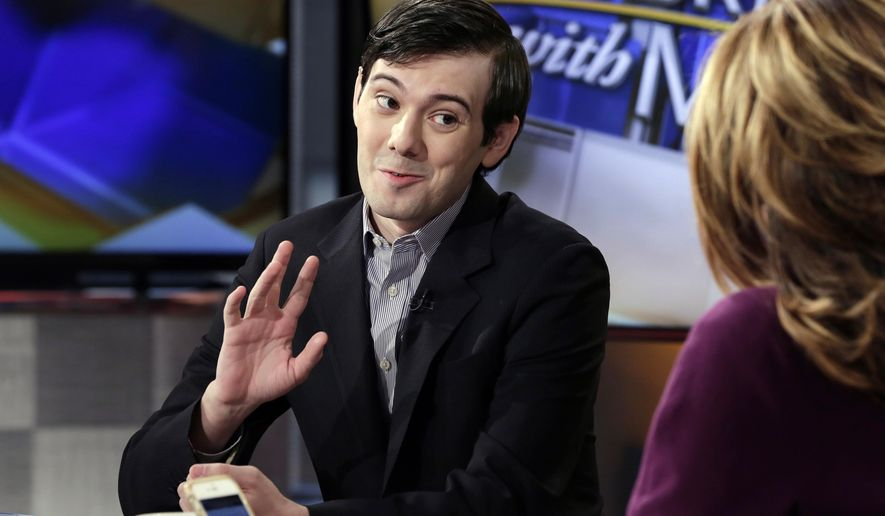 "Former Turing Pharmaceuticals CEO Martin Shkreli is interviewed by host Maria Bartiromo during her ""Mornings with Maria Bartiromo"" program on the Fox Business Network, in New York, Tuesday, Feb. 2, 2016. (AP Photo/Richard Drew)"