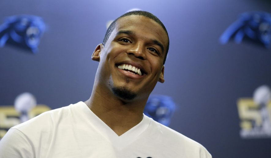 Carolina Panthers quarterback Cam Newton smiles as he answers questions during a press conference Tuesday, Feb. 2, 2016 in San Jose, Calif. Carolina plays the Denver Broncos in the NFL Super Bowl 50 football game Sunday, Feb. 7, 2015, in Santa Clara, Calif. (AP Photo/Marcio Jose Sanchez)