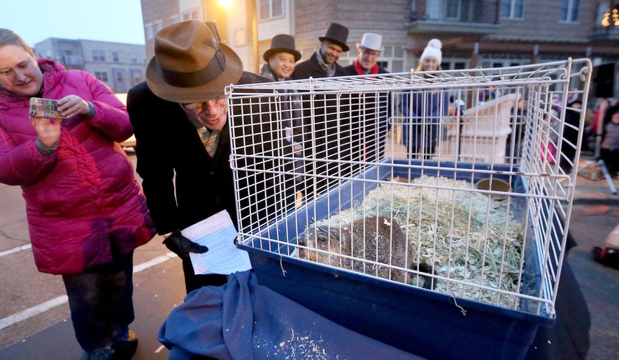 Sun Prairie, Wis. Mayor Paul Esser waits for a winter weather prediction from Jimmy the Groundhog during the 2016 Groundhog Prognostication event in Sun Prairie, Wis. Tuesday, Feb. 2, 2016.  Overcast skies prevented Jimmy from seeing his shadow, supposedly signaling an early spring arrival according to the tradition.  (John Hart,/Wisconsin State Journal via AP) MANDATORY CREDIT