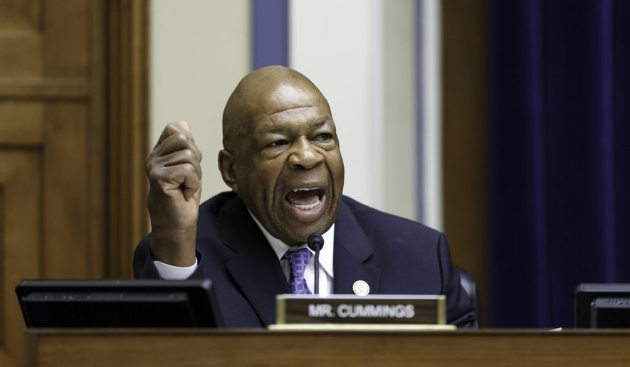 FILE - In this July 17, 2014 file photo, Rep. Elijah Cummings, D-Md., speaks on Capitol Hill in Washington. Cummings announced Tuesday, Feb. 2, 2016, that he will seek re-election to his House seat instead of running for Senate. (AP Photo/J. Scott Applewhite, File)