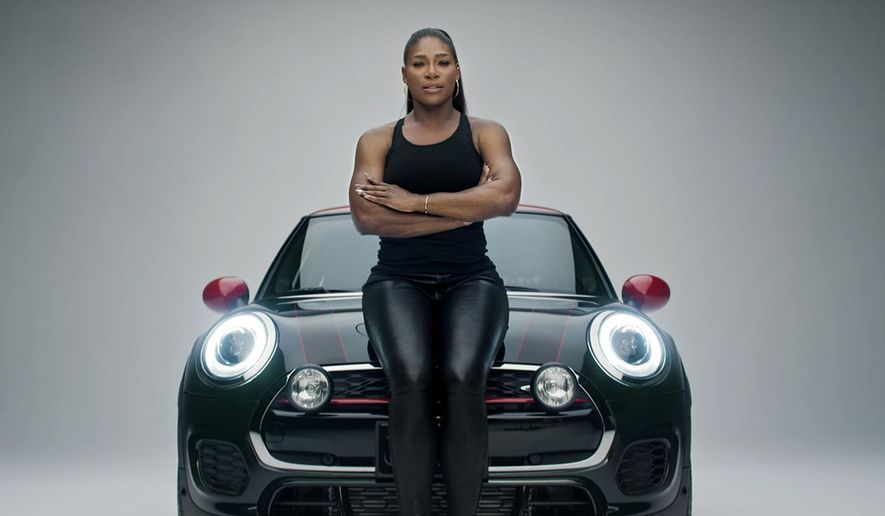 "This image provided by Mini USA shows a still from the company's Super Bowl 50 ""Defy Labels"" ad spot featuring tennis star Serena Williams. Williams is one of several celebrities being featured in Mini USA's Super Bowl spot. (Mini USA via AP)"