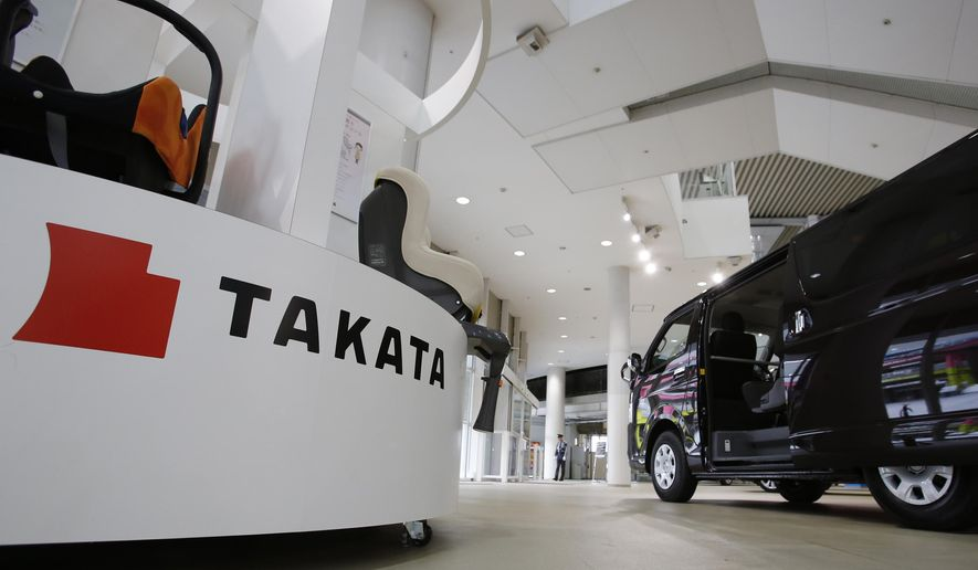 FILE - In this Nov. 6, 2014, file photo, child seats manufactured by Takata Corp. are displayed at a Toyota Motor Corp.'s showroom in Tokyo. On Tuesday, Feb. 2, 2016, an outside panel hired by embattled air bag maker Takata Corp. said the company lacks processes to improve product quality including air bag inflators that have been blamed for at least 11 deaths and 139 injuries. (AP Photo/Shizuo Kambayashi, File)