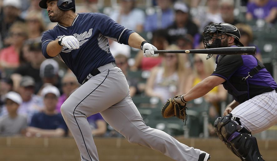 FILE - In this March 18, 2015, file photo, San Diego Padres' Carlos Quentin, left, follows through with a double in the second inning of a spring training exhibition baseball game against the Colorado Rockies in Scottsdale, Ariz. Quentin and the Minnesota Twins have agreed to a minor league contract Tuesday, Feb. 2, 2016, giving the 33-year-old a chance to revive his career.  (AP Photo/Ben Margot, File)