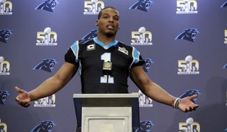 Carolina Panthers quarterback Cam Newton (1) answers questions during a press conference Wednesday, Feb. 3, 2016 in San Jose, Calif. Carolina plays the Denver Broncos in the NFL Super Bowl 50 football game Sunday, Feb. 7, 2015, in Santa Clara, Calif. (AP Photo/Marcio Jose Sanchez)