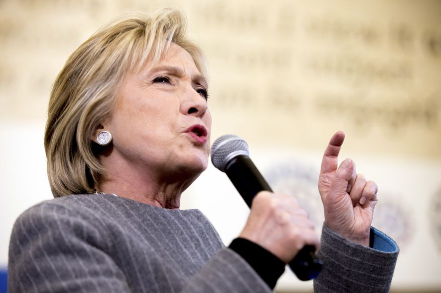 Democratic presidential candidate Hillary Clinton speaks at a rally at Abraham Lincoln High School in Council Bluffs, Iowa, Sunday, Jan. 31, 2016. (AP Photo/Andrew Harnik)