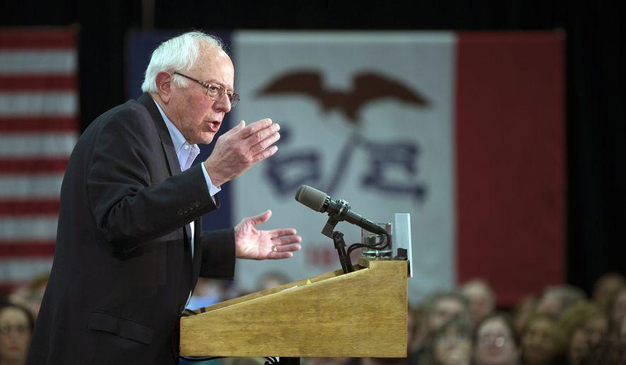 Democratic presidential candidate Sen. Bernie Sanders, I-Vt., speaks during a campaign rally on Sunday, Jan. 31, 2016, in Waterloo, Iowa. (AP Photo/Evan Vucci)