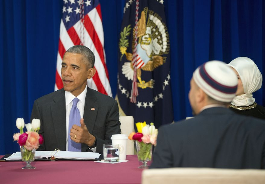 President Barack Obama meets with members of Muslim-American community at the Islamic Society of Baltimore, Wednesday, Feb. 3, 2016, in Baltimore, Md. Obama is making his first visit to a U.S. mosque at a time Muslim-Americans say they're confronting increasing levels of bias in speech and deeds.(AP Photo/Pablo Martinez Monsivais)