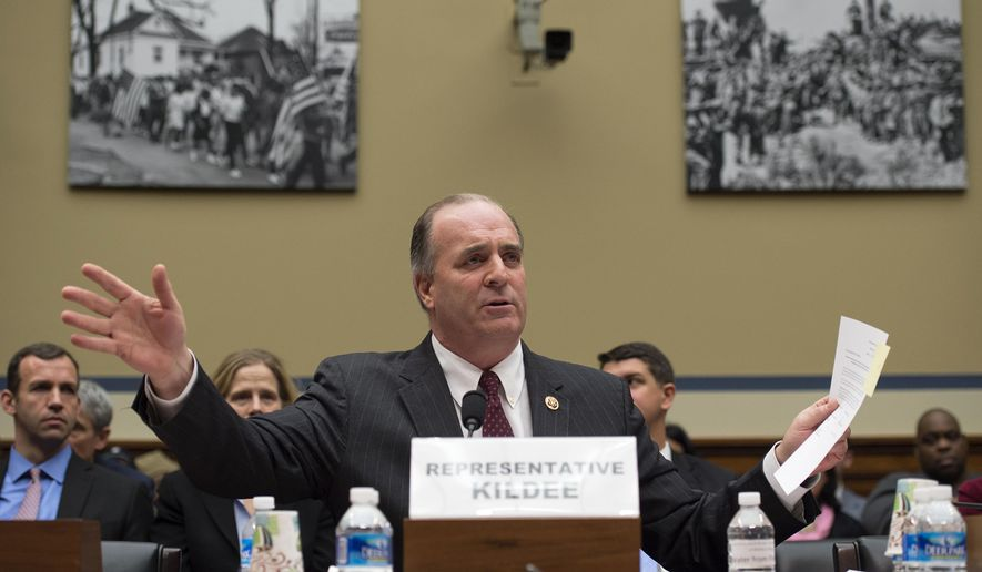 Rep. Dan Kildee, D-Mich. testifies on Capitol Hill in Washington, Tuesday, Feb.  3, 2016, before the House Oversight and Government Reform Committee hearing to examine the ongoing situation in Flint, Mich. Flint is under a public health emergency after its drinking water became tainted when the city switched from the Detroit system and began drawing from the Flint River in April 2014 to save money. The city was under state management at the time.   (AP Photo/Molly Riley)