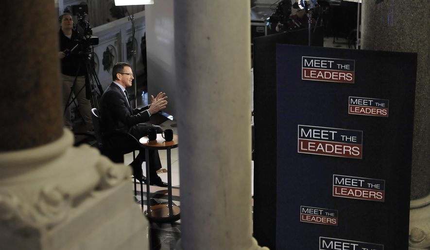 Connecticut Gov. Dannel P. Malloy gives morning interviews prior to delivering his budget address at the State Capitol, Wednesday, Feb. 3, 2016, in Hartford, Conn. (AP Photo/Jessica Hill)