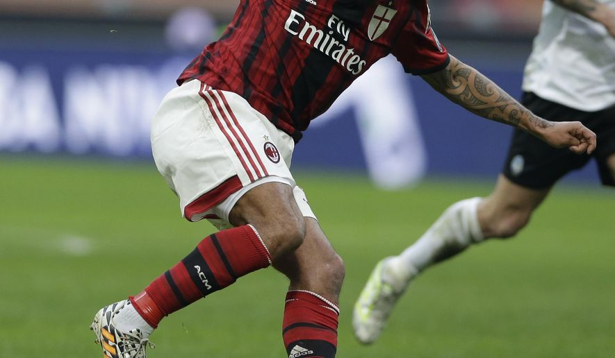 FILE - In this Jan. 18 2015, file photo, AC Milan's Nigel de Jong controls the ball against Atalanta during an Italian Serie A soccer match at San Siro stadium in Milan, Italy. The LA Galaxy have acquired the Dutch midfielder on Wednesday, Feb. 3, 2016. (AP Photo/Luca Bruno, File)