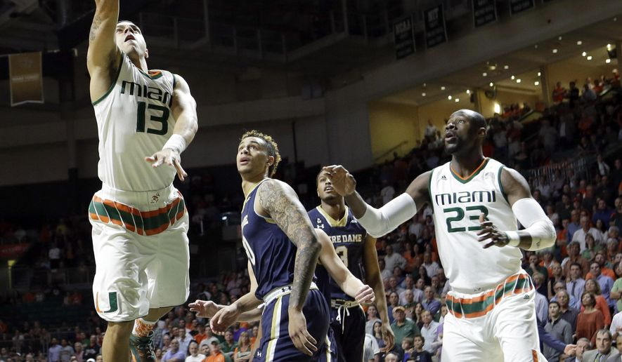 Miami guard Angel Rodriguez (13) goes to the basket against Notre Dame in the first half of an NCAA college basketball game, Wednesday, Feb. 3, 2016, Coral Gables, Fla. (AP Photo/Alan Diaz)