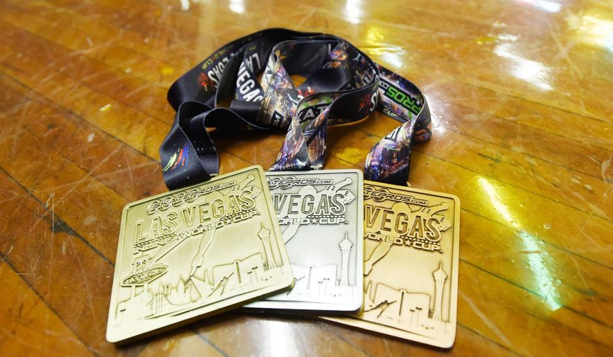 ADVANCE FOR THE WEEKEND OF FEB. 6 - This Thursday, Jan. 21, 2016 photo shows medals won by members of the Rollerdrome Rampage Speed Team's participation in the Inline World Cup in Las Vegas, photographed at the Rollerdrome skating rink in Nampa. The Rollerdrome is the practice rink for some young world champion speed skaters. (Greg Kreller/The Idaho Press-Tribune via AP) MANDATORY CREDIT