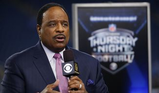 Thursday Night Football host James Brown talks on the Ford Field set during pregame of an NFL football game between the Detroit Lions and the Green Bay Packers, Thursday, Dec. 3, 2015, in Detroit. (AP Photo/Paul Sancya)