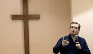 Republican presidential candidate, Sen. Ted Cruz, R-Texas, speaks during a campaign event at the Grace Baptist Church, Monday, Feb. 1, 2016, in Marion, Iowa. (AP Photo/Mary Altaffer)