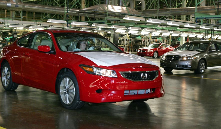 FILE - In this Nov. 1, 2007 file photo, a 2008 Honda Accord Coupe, left,  is driven off the assembly line as a 2008 Acura TL waits during production at  Honda of America Manufacturing's Marysville Auto Plant in Marysville, Ohio.  Continental Automotive Systems says in documents filed with the government, Thursday, Feb. 4, 2016,  that moisture can get inside its air bag control computers, causing the power supplies to corrode and fail. If that happens, air bags may not inflate in a crash or they could deploy without a crash. Documents say Continental will notify automakers, who will recall cars dating to 2006. Already Honda, Fiat Chrysler and Mercedes have issued recalls. (AP Photo/Paul Vernon)