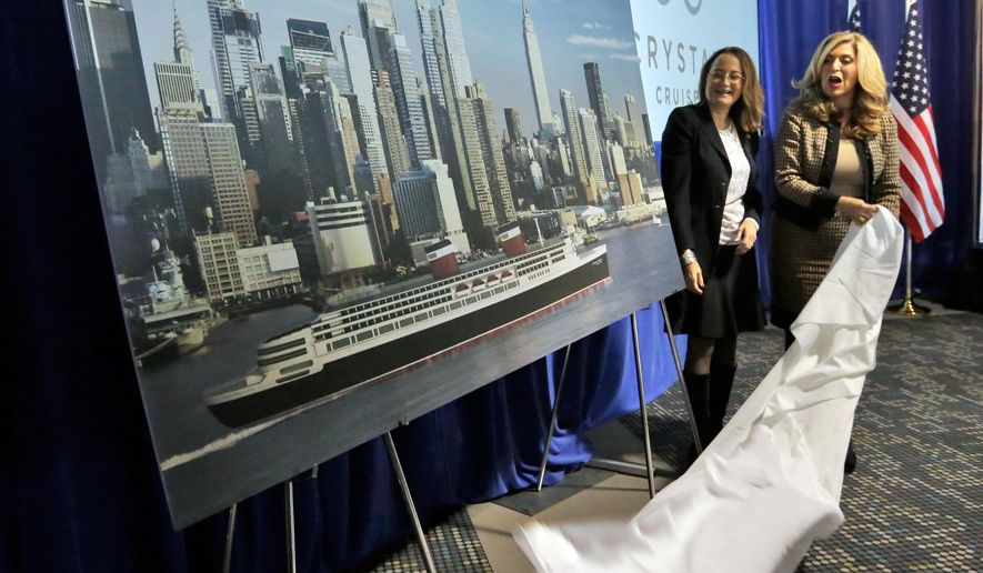 SS United States Conservancy Executive Director Susan Gibbs, left, and Crystal Cruises President & CEO Edie Rodriquez unveil an artist rendering of the SS United States,  in New York,  Thursday, Feb. 4, 2016. The conservation group and cruise line announced plans to overhaul the ocean liner, that once carried celebrities across the Atlantic at record speeds in its prime, but has been rotting on the Philadelphia waterfront for two decades. (AP Photo/Richard Drew)