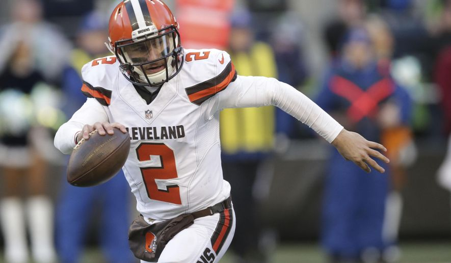FILE - In this Sunday, Dec. 20, 2015 file photo, Cleveland Browns quarterback Johnny Manziel looks to pass against the Seattle Seahawks in the second half of an NFL football game in Seattle. Johnny Manziel's ex-girlfriend told police the Cleveland Browns quarterback hit her during an argument last weekend in Texas and said he appeared to be on drugs. Fort Worth police released a report Thursday, Feb. 4, 2016 that provided the first details of the altercation Saturday night between Manziel and Colleen Crowley. (AP Photo/Scott Eklund, File)