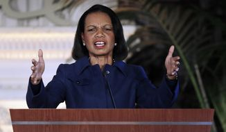 Former U.S. Secretary of State Condoleezza Rice gestures while speaking at the NFL Women's Summit, Thursday, Feb. 4, 2016, in San Francisco. (AP Photo/Ben Margot) ** FILE **