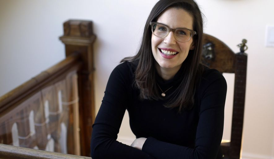 In this Feb. 1, 2016, photo, Lauren Gunderson appears at her home in San Francisco. Gunderson, who recently won a Dramatist Guild of America award, has plays being produced in New York, Cincinnati and Denver.  (AP Photo/Ben Margot)