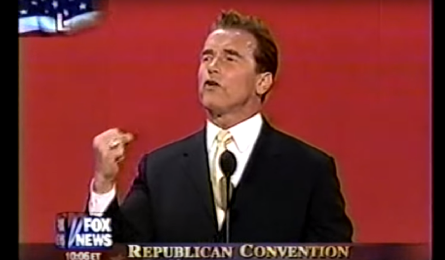 Arnold Schwarzenegger, then Governor of California, speaking at the 2004 Republican National Convention. Screen shot from YouTube of the speech.