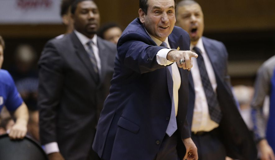 FILE - In this Saturday, Jan. 9, 2016 file photo, Duke head coach Mike Krzyzewski reacts during the first half of an NCAA college basketball game against Virginia Tech in Durham, N.C. Duke is trying to get back to being Duke again. First, the Blue Devils are getting Hall of Fame coach Mike Krzyzewski back. They hope more wins follow starting with Saturday's visit from rival North Carolina State  and after that, their spot in the AP Top 25, Friday, Feb. 5, 2016. (AP Photo/Gerry Broome, File)