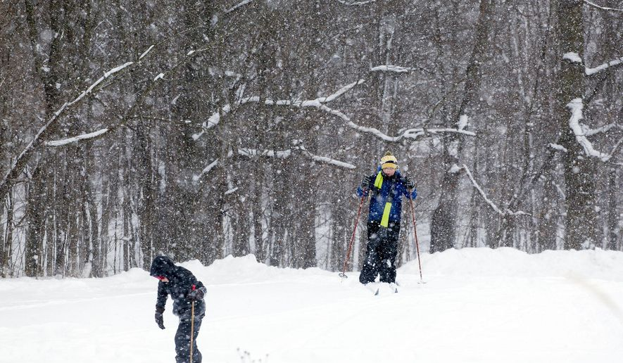 Blandford Middle School sixth grader Lucas Greer (right) skis with classmates during a day learning to cross country ski Tuesday, Jan. 12, 2016, at the Blandford Nature Center in Grand Rapids, Mich. Blandford Nature Center's trails offers outdoor snow activities. (Nick Gonzales/Jackson Citizen Patriot via AP)