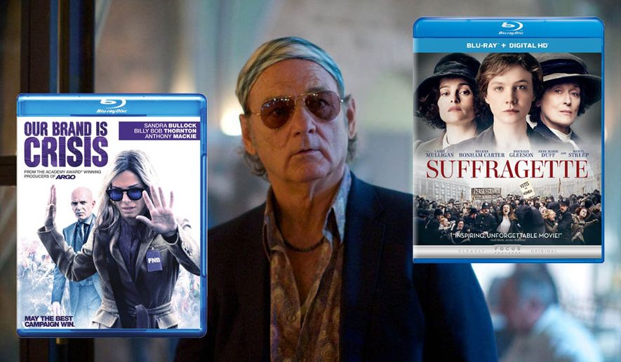 "Blu-ray releases available this week include ""Our Brand is Crisis"" with Sandra Bullock, ""Rock the Kasbah"" with Bill Murray and ""Suffragette"" with Meryl Streep."