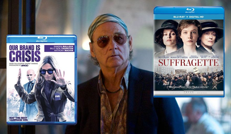 """Blu-ray releases available this week include """"Our Brand is Crisis"""" with Sandra Bullock, """"Rock the Kasbah"""" with Bill Murray and """"Suffragette"""" with Meryl Streep."""
