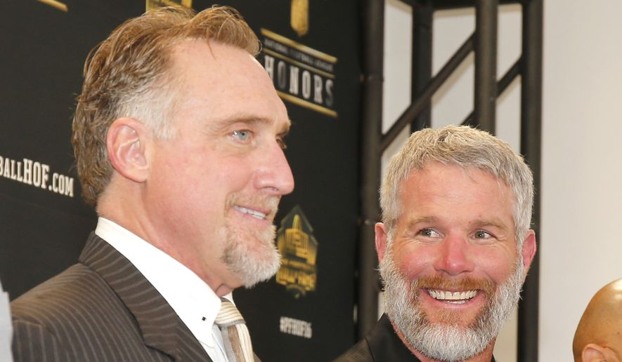 Former NFL players Kevin Greene, left, and Brett Favre, who will be inducted into the Pro Football Hall of Fame class of 2016, attend the Hall of Fame press room at the the 5th annual NFL Honors at the Bill Graham Civic Auditorium on Saturday, Feb. 6, 2016, in San Francisco. (Photo by Jack Dempsey/Invision for NFL/AP Images)