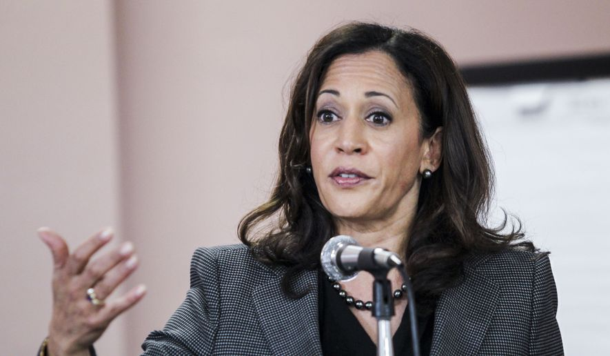 California Attorney General Kamala Harris speaks at a meet and greet at Building and Construction Trades Council in Los Angeles. Chiu,File)