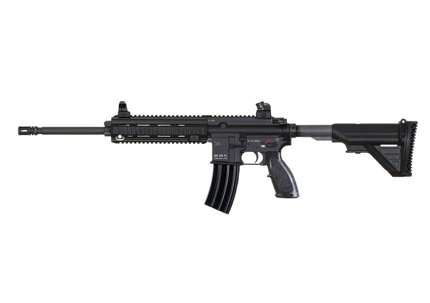 HK MR556A1 A direct descendent of the HK416, the MR556A1 is a semi-automatic rifle developed by Heckler & Koch as a premium level commercial/civilian firearm with match rifle capability. Like the HK416, the MR556A1 is a major product improvement over conventional AR-type carbines and rifles. The MR556A1 uses the HK proprietary gas piston operating system, employing a piston and a solid operating pusher rod in place of the gas tube normally found in AR15/M16/M4-style firearms. This method of operation virtually eliminates malfunctions that are common to direct impingement gas systems since hot carbon fouling and waste gases do not enter the receiver area. This is the same key feature critical to the success of the HK416 rifles used by leading military and law enforcement customers. The MR556A1 is produced in the USA using American and German made components. The MR556A1 uses many of the same assemblies and accessories originally developed for the HK416 including the HK free-floating four-quadrant rail system. Designed to function with a wide variety of high quality 5.56 x 45 mm ammunition, the MR556A1 uses a C.I.P. dimensioned chamber. The MR556A1 also functions reliably with most quality Caliber .223 Remington ammunition.