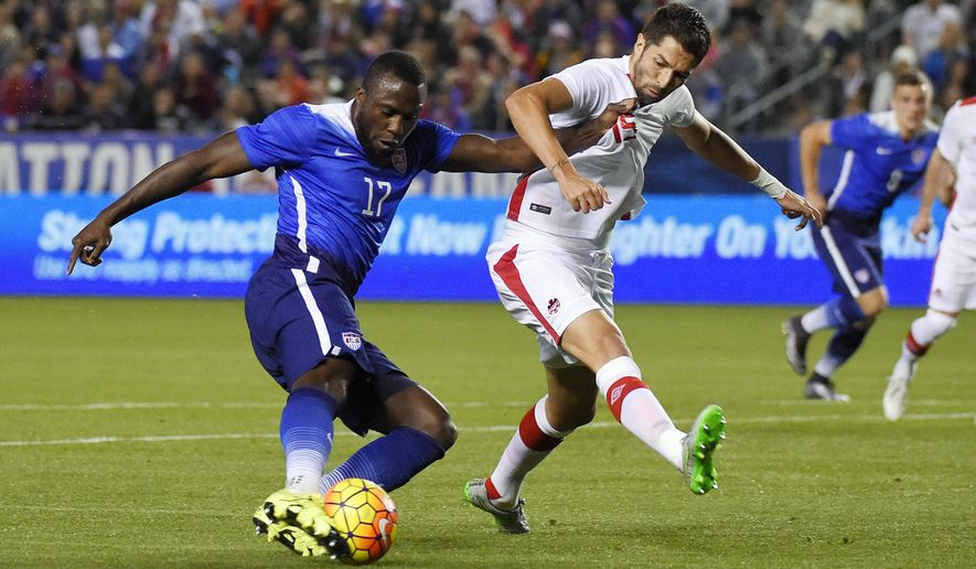 United States' Jozy Altidore, left, and Canada's Steven Vitoria vie for the ball during the first half of an exhibition soccer match Friday, Feb. 5, 2016, in Carson, Calif. (AP Photo/Mark J. Terrill)