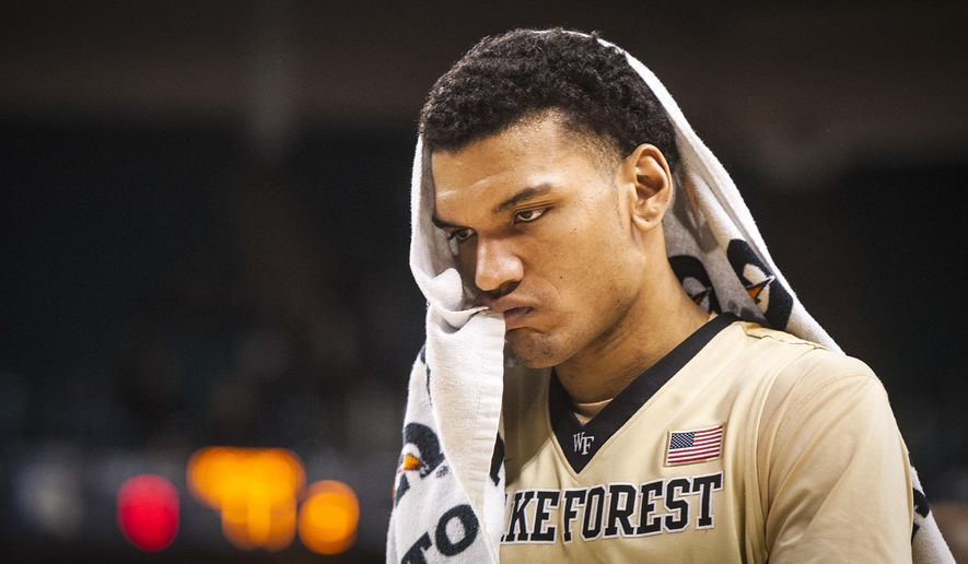 Wake Forest forward Devin Thomas (2) walks off the court after the Deacons lost to Florida State 91-71 in an NCAA college basketball game, Saturday, Feb. 6, 2016, in Winston-Salem, N.C. (Andrew Dye/The Winston-Salem Journal via AP) MANDATORY CREDIT