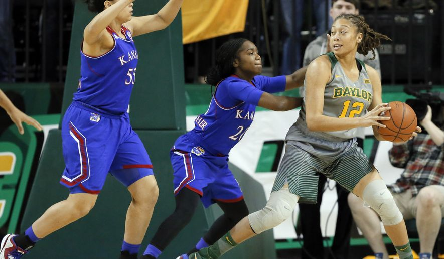 Kansas forward Tyler Johnson (55) and Jayde Christopher (20) defend as Baylor guard Alexis Prince (12) looks for a shot opportunity in the first half of an NCAA college basketball game, Saturday, Feb. 6, 2016, in Waco, Texas. (AP Photo/Tony Gutierrez)