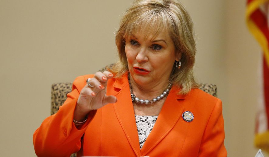FILE - In this Aug. 4, 2015 fill photo, Gov. Mary Fallin talks with the media after meeting with members of the Coordinating Council on Seismic Activity in Oklahoma City. With both the number and power of earthquakes increasing in Oklahoma, the Republican-controlled Legislature may be ready to take steps aimed at curbing the quakes scientists have linked to the underground disposal of oil and gas wastewater. (AP Photo/Sue Ogrocki, File)