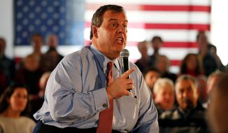 Chris Christie, the governor of New Jersey whose campaign has faltered, hopes that if he can dent Marco Rubio and that supporters of the senator from Florida will naturally flow to him Tuesday, when New Hampshire holds its first-in-the-nation primary. (Associated Press)