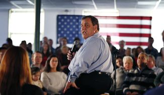 Republican presidential candidate New Jersey Gov. Chris Christie speaks at a town hall-style campaign event at Hampton Academy, Sunday, Feb. 7, 2016, in Hampton, N.H. (AP Photo/Robert F. Bukaty)