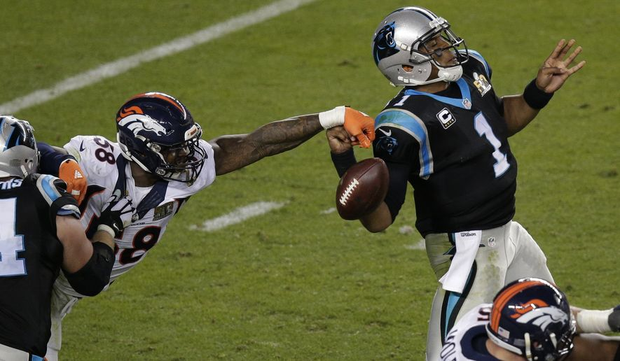 Denver Broncos' Von Miller (58) strips the ball from Carolina Panthers' Cam Newton (1) during the second half of the NFL Super Bowl 50 football game Sunday, Feb. 7, 2016, in Santa Clara, Calif. (AP Photo/Charlie Riedel)