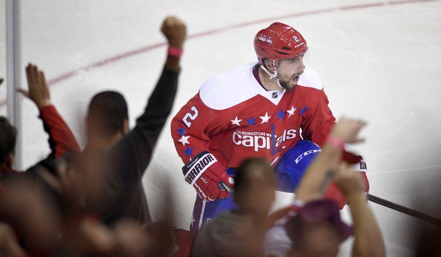Washington Capitals defenseman Matt Niskanen (2) celebrates his goal during the third period of an NHL hockey game against the Philadelphia Flyers, Sunday, Feb. 7, 2016, in Washington. (AP Photo/Nick Wass)