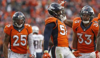 Denver Broncos outside linebacker Von Miller (58) is congratulated by his teammates after a play during the second half of the NFL football AFC Championship game between the Denver Broncos and the New England Patriots, Sunday, Jan. 24, 2016, in Denver. (AP Photo/David Zalubowski)