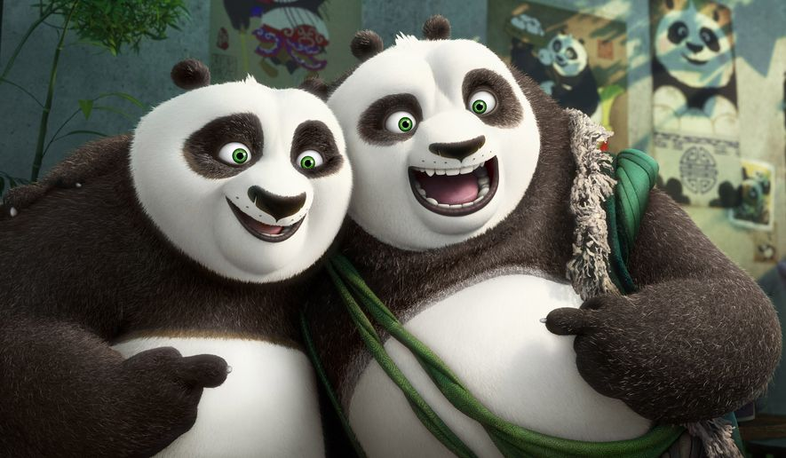 "This image released by DreamWorks Animation shows characters Po, voiced by Jack Black, left, and his long-lost panda father Li, voiced by Bryan Cranston, in a scene from ""Kung Fu Panda 3."" (DreamWorks Animation via AP) ** FILE **"