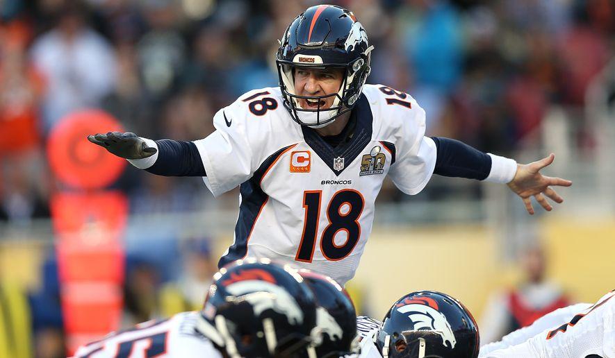 Denver Broncos quarterback Peyton Manning (18) calls out a play against Carolina Panthers during Super Bowl 50, Sunday, Jan. 7, 2016 in Santa Clara, Calif. (AP Photo/Doug Benc)
