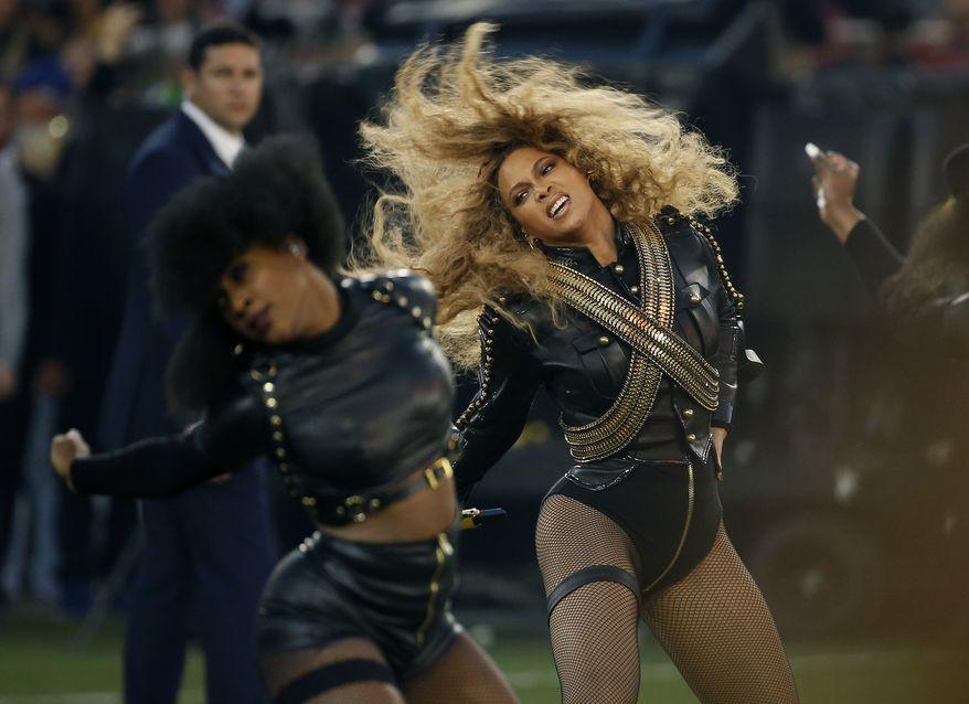 Beyonce performs during halftime of the NFL Super Bowl 50 football game Sunday, Feb. 7, 2016, in Santa Clara, Calif.  (AP Photo/Matt Slocum)