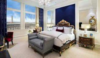 A view of a typical guest room in Donald's Trump's new hotel in Washington, which is opening in September, a full two years early. (Trump Hotel Collection)