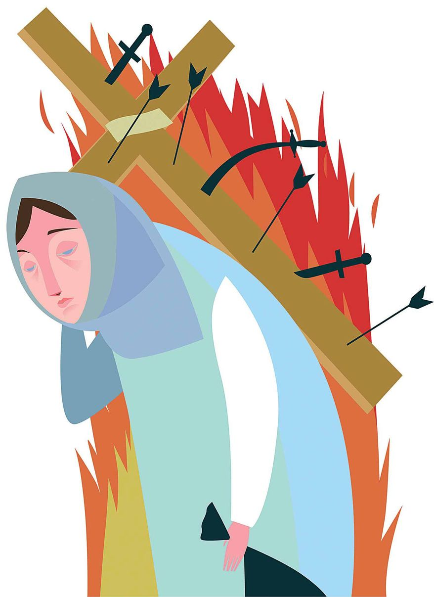 Illustrations on Christians and Yazidis in Syria and Iraq by Linas Garsys/The Washington Times