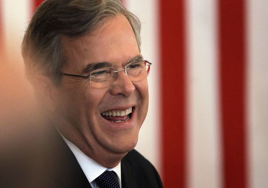 Republican presidential candidate, former Florida Gov. Jeb Bush laughs during a campaign event, Monday, Feb. 8, 2016, in Nashua, N.H. (AP Photo/Steven Senne)