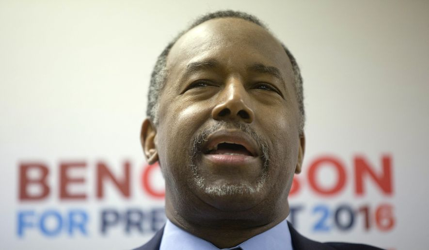 Republican presidential candidate, Dr. Ben Carson speaks as he visits a campaign office Saturday, Feb. 6, 2016, in Manchester, N.H. (AP Photo/Matt Rourke) ** FILE **