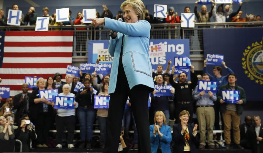 Democratic presidential candidate Hillary Clinton speaks during a campaign stop, Monday, Feb. 8, 2016, at Manchester Community College in Manchester, N.H. (AP Photo/Matt Rourke)