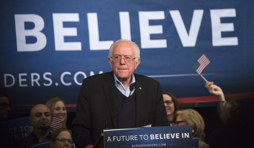 Democratic presidential candidate, Sen. Bernie Sanders, I-Vt. speaks during a campaign stop at the Palace Theatre, Monday, Feb. 8, 2016, in Manchester, N.H. (AP Photo/John Minchillo)