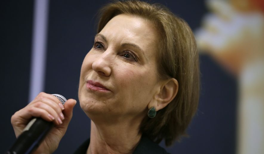 Republican presidential candidate Carly Fiorina speaks during the Iowa Right to Life Presidential Forum in Des Moines on Jan. 20, 2016. (Associated Press) **FILE**